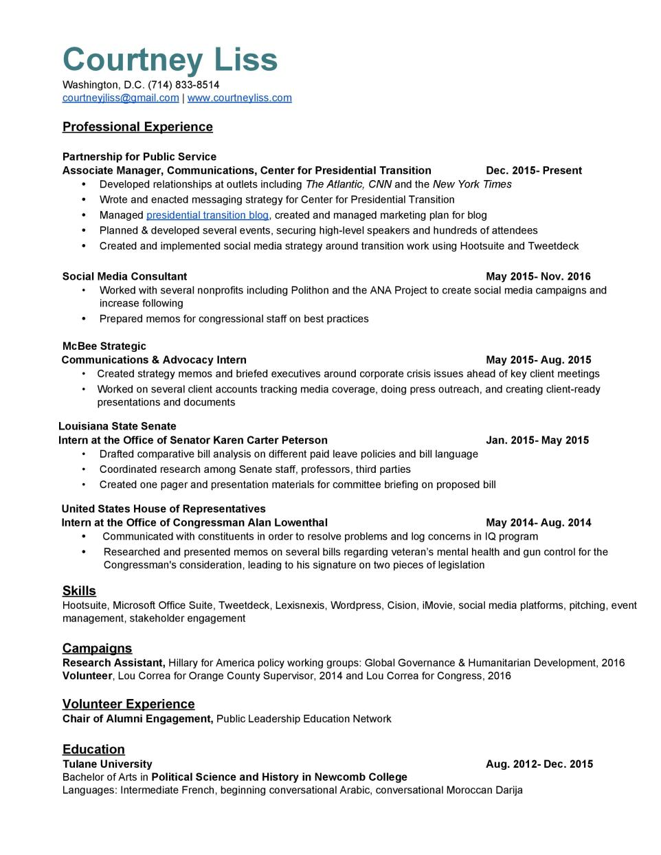 Sample Resume For Congressional Intern